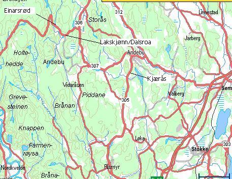 kart andebu Lakskjønn og Dalsroa kart andebu