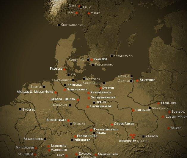 konsentrasjonsleir tyskland kart Oversikt over fange